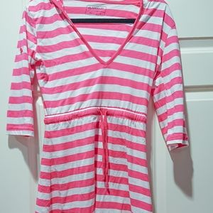 Magellan Pink and White Striped Beach Coverup